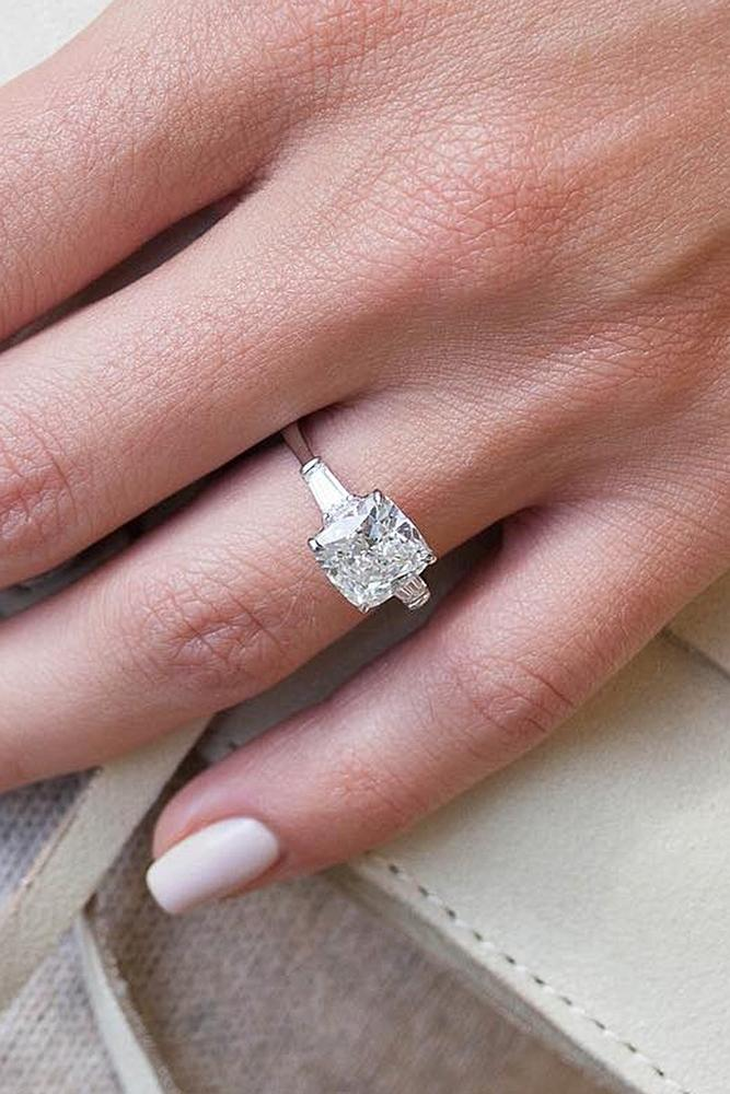 beautiful engagement rings cushion cut diamond white gold solitaire modern