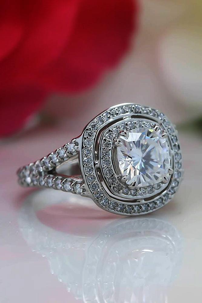 beautiful engagement rings cushion cut twist unique halo