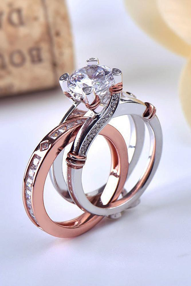beautiful engagement rings gold wedding set solitaire round cut - Beautiful Wedding Rings