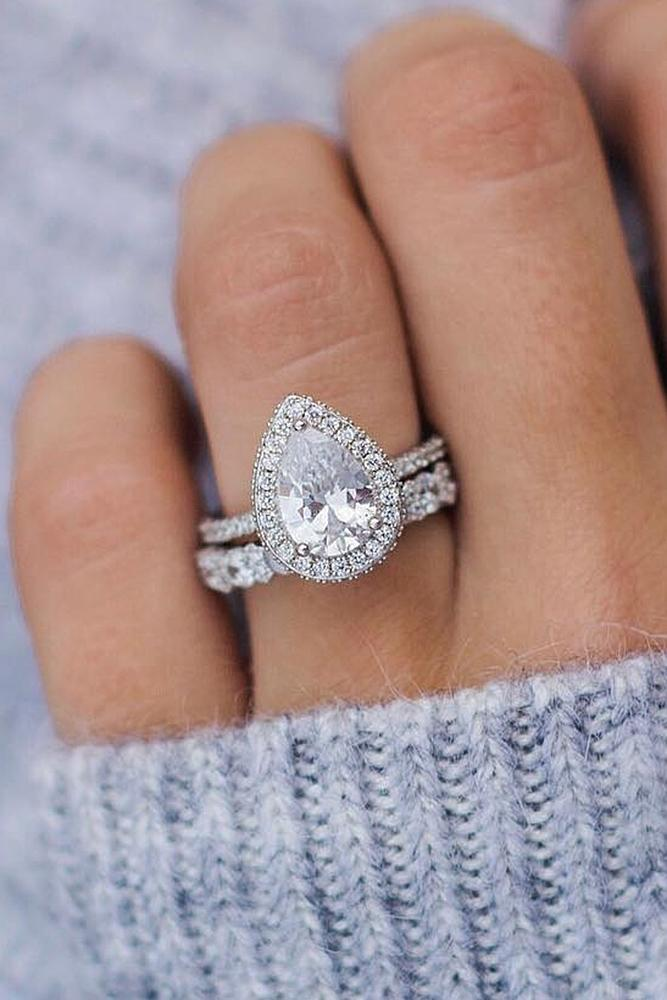 beautiful engagement rings halo pave band split pear cut