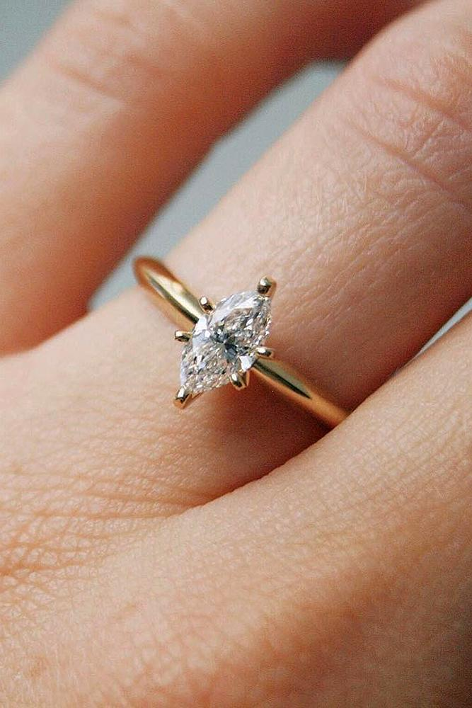 Beautiful Engagement Rings Marquise Simple Rose Gold Diamond
