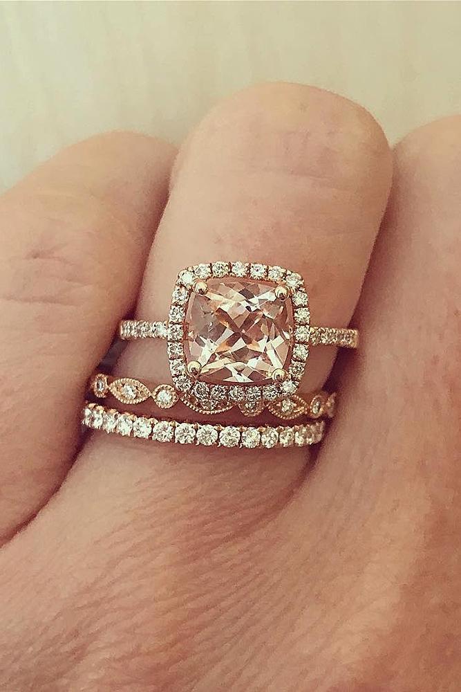 beautiful engagement rings rose gold halo cushion cut