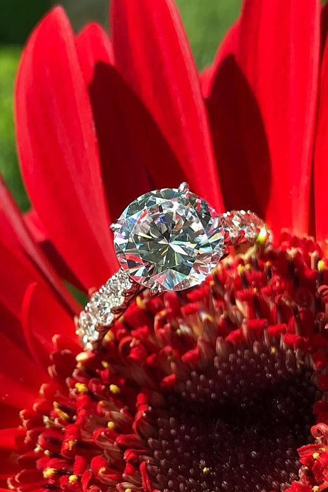 beautiful engagement rings round cut solitaire diamonds modern