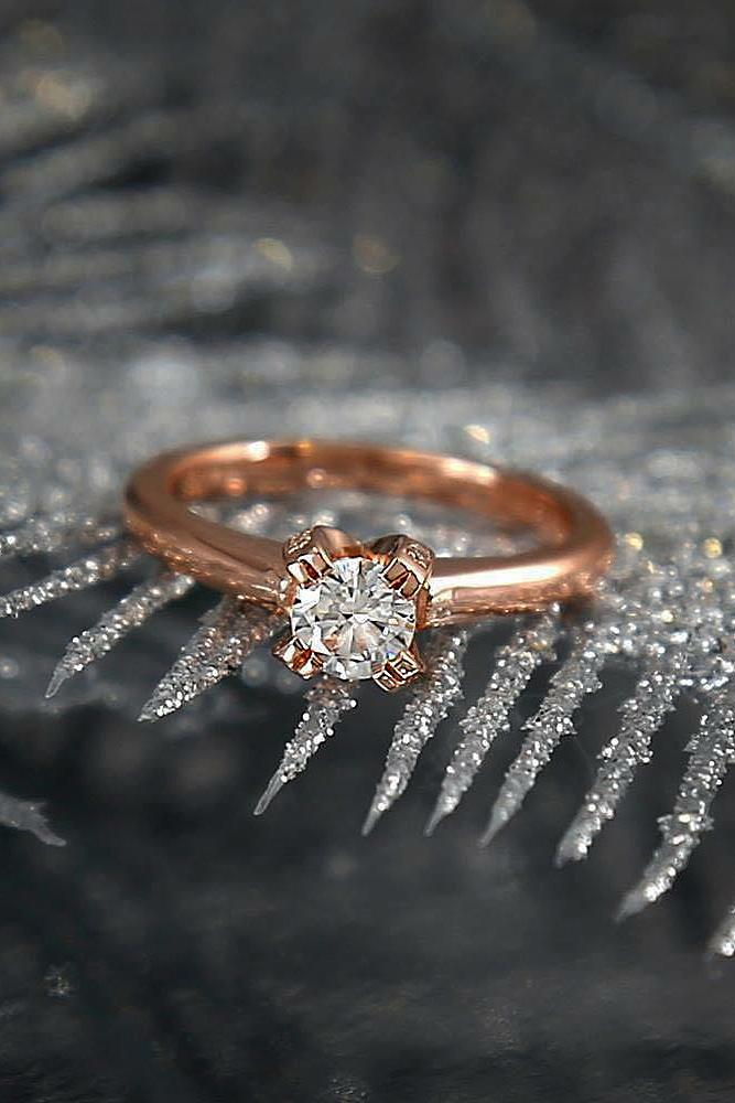 beautiful engagement rings simple solitaire round cut diamond rose gold