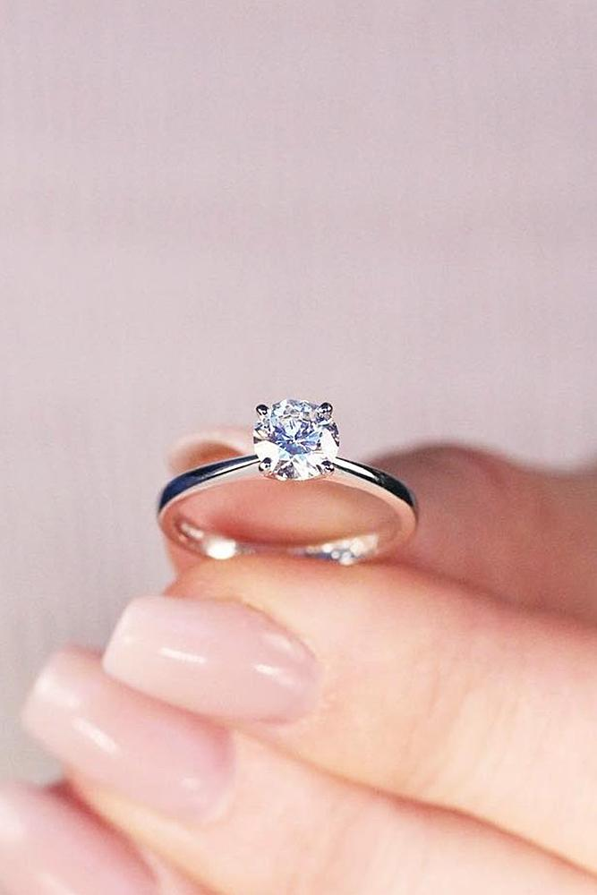 Beautiful Engagement Rings Solitaire Diamond Simple White Gold
