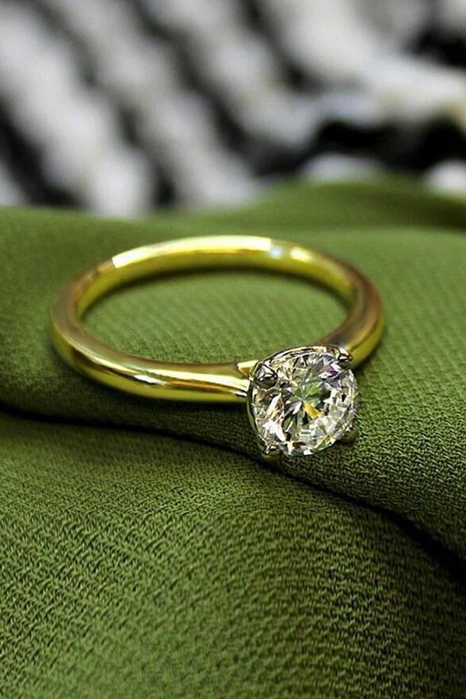 beautiful engagement rings solitaire gold round cut simple