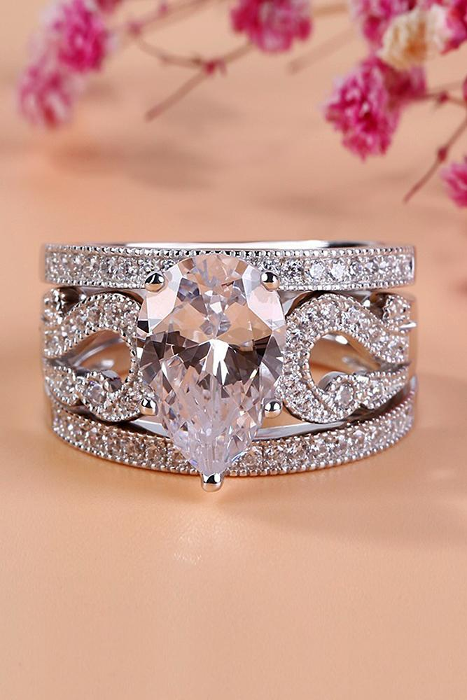 beautiful engagement rings solitaire pear cut diamond pave band