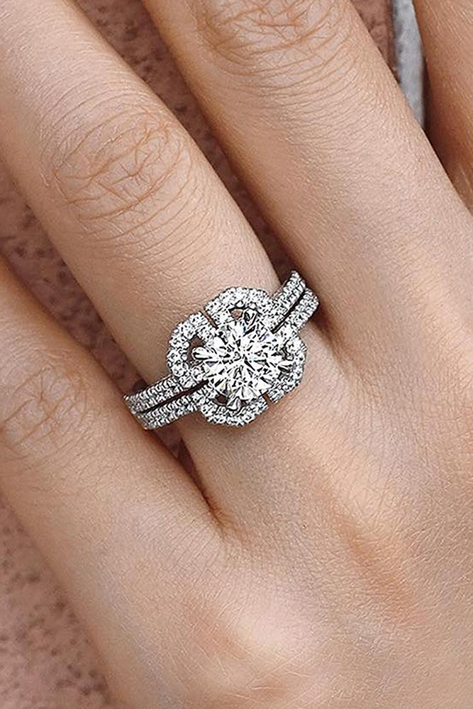beautiful engagement rings unique pave band round cut