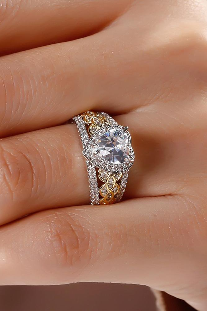 beautiful engagement rings wedding set heart cut yellow white gold