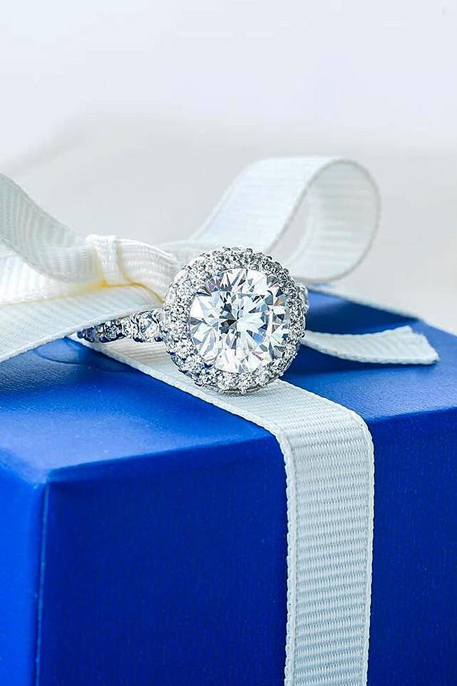 beautiful engagement rings white gold diamonds halo pave band