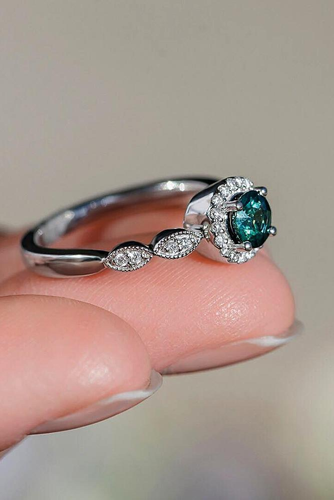 beautiful engagement rings white gold halo round cut
