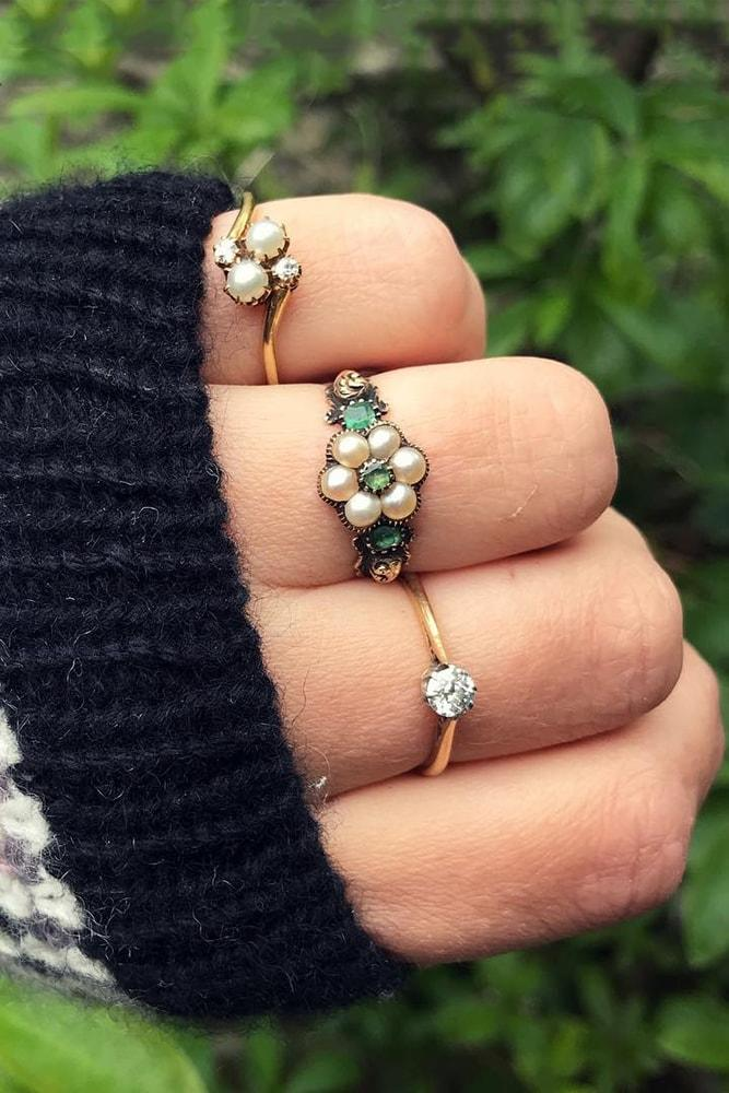beautiful engagement rings with floral elements rose gold round cut gemstone