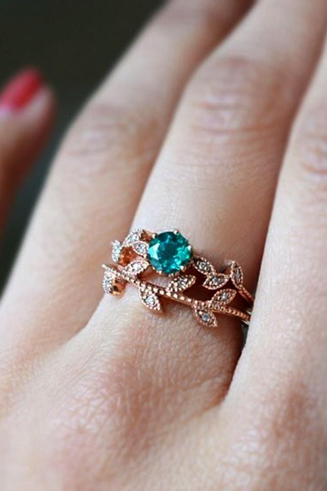 beautiful engagement rings with floral elements rose gold round cut gemstone floral pave band