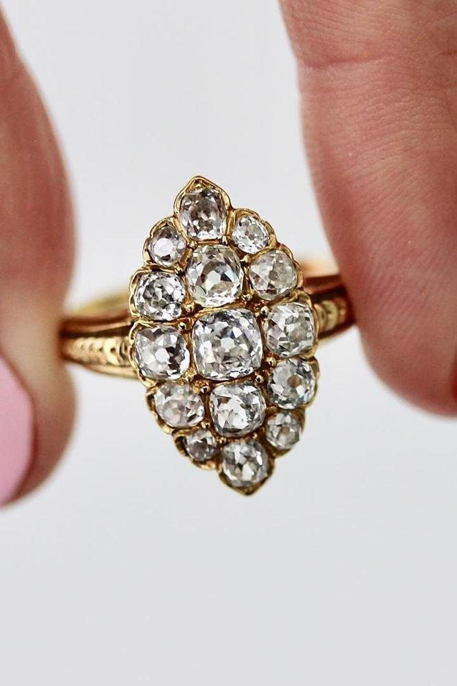 beautiful engagement rings yellow gold diamonds pave band classic