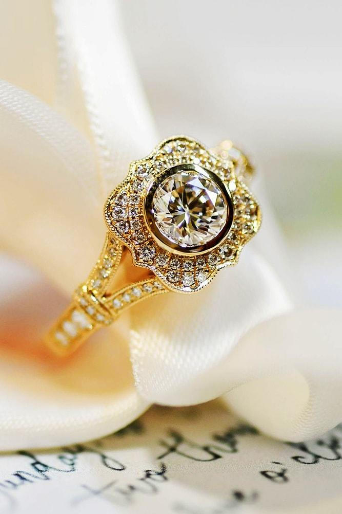 beautiful engagement rings yellow gold round cut diamond halo vintage twisted pave band