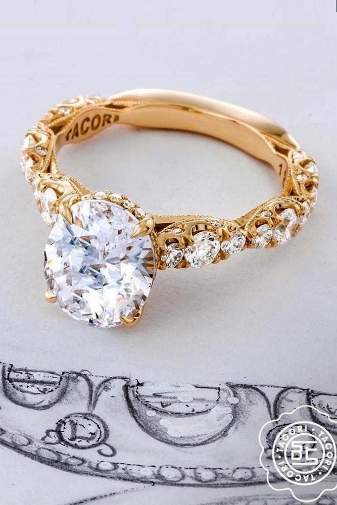 beautiful engagement rings yellow gold round cut diamond pave band with diamonds amazing