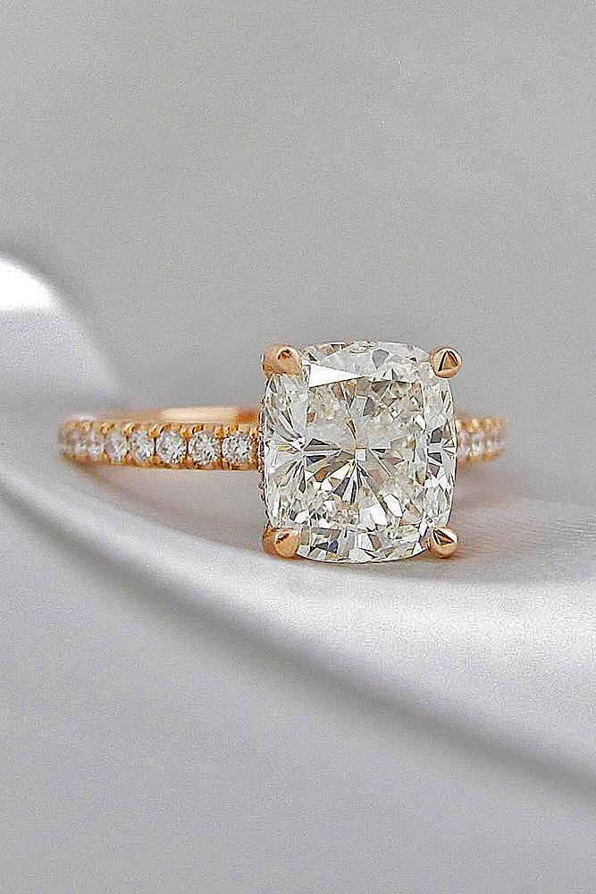 best engagement rings cushion cut diamond pave band rose gold