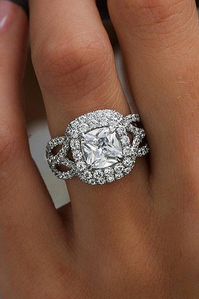 best engagement rings cushion cut double halo twist