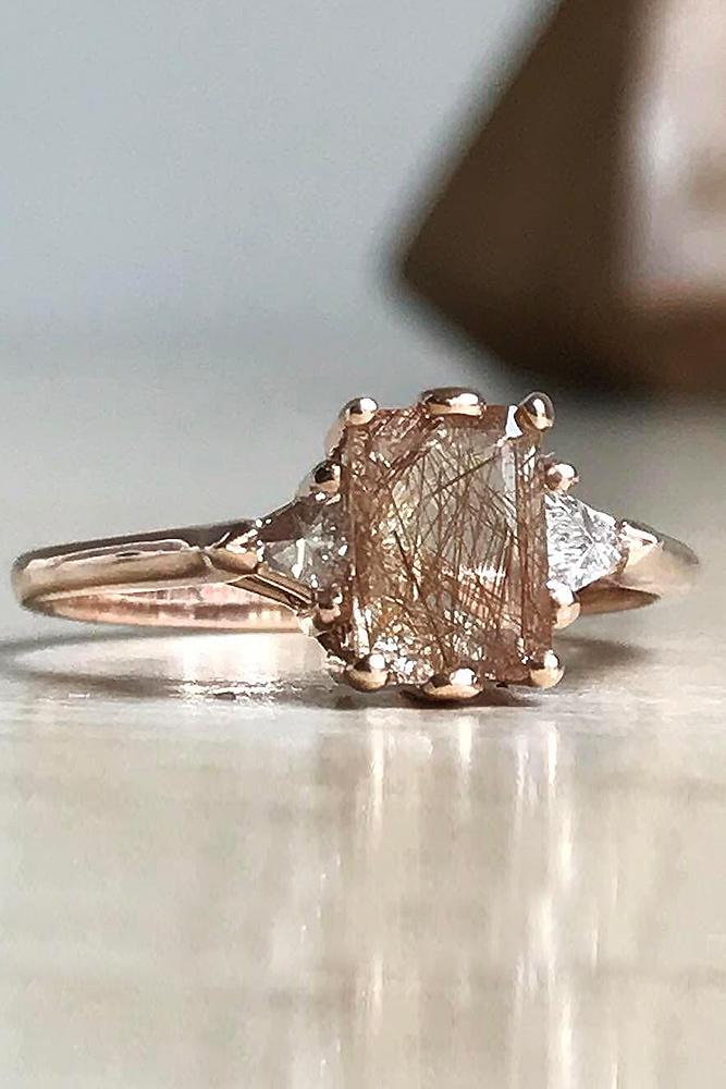 best engagement rings rose gold emerald cut solitaire morganite