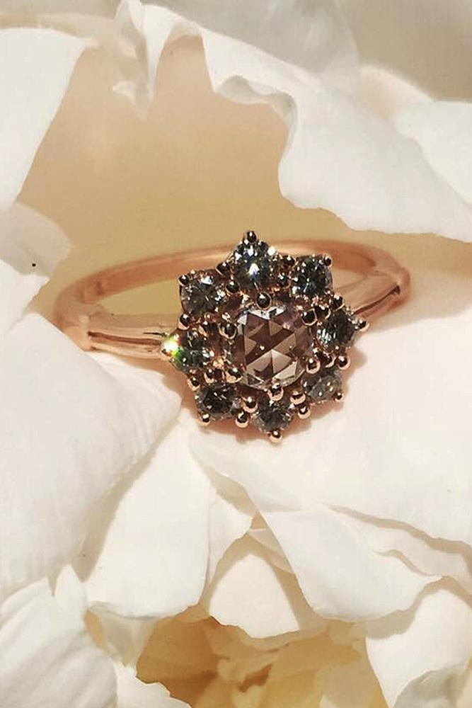 best engagement rings rose gold floral double halo round gemstone