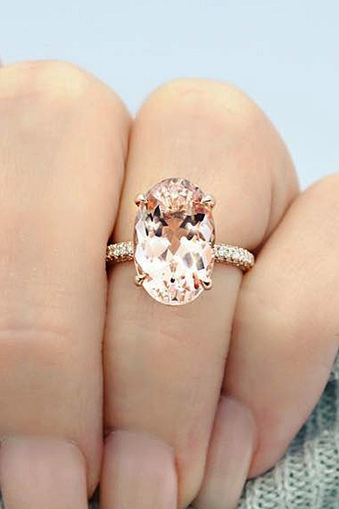 best engagement rings solitaire morganite oval cut rose gold