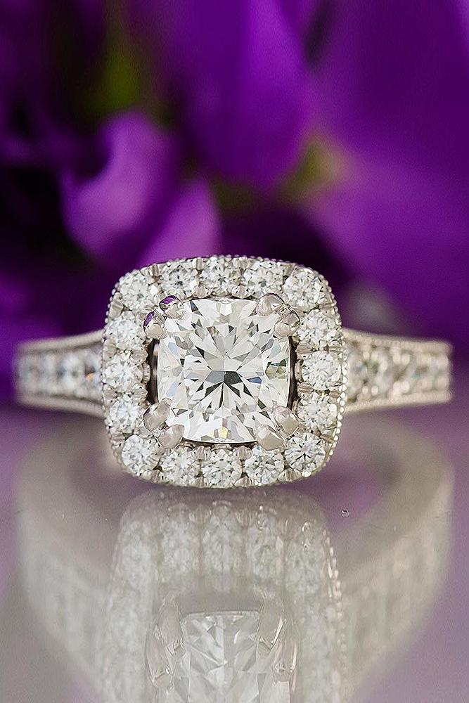 best engagement rings split pave band white gold cushion cut diamond halo