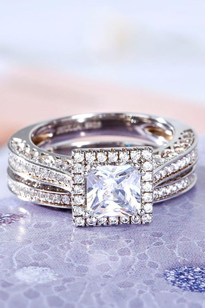 best engagement rings split pave band white gold princess cut diamond halo