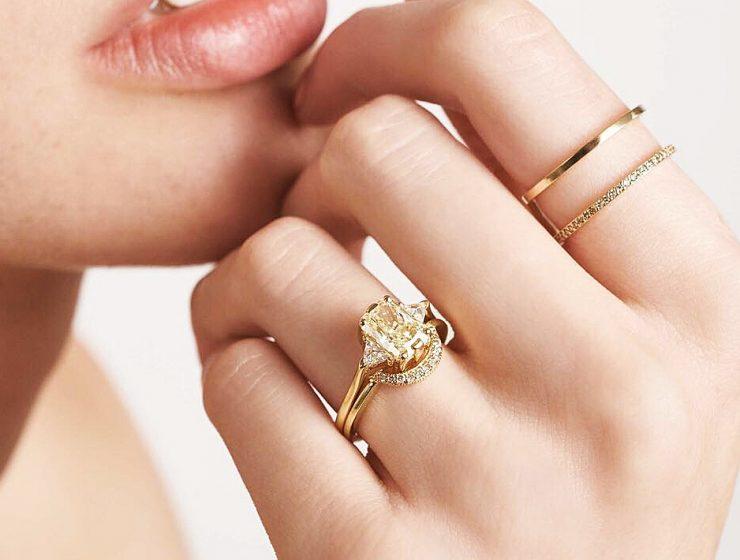 best engagement rings wedding set gold emerald cut