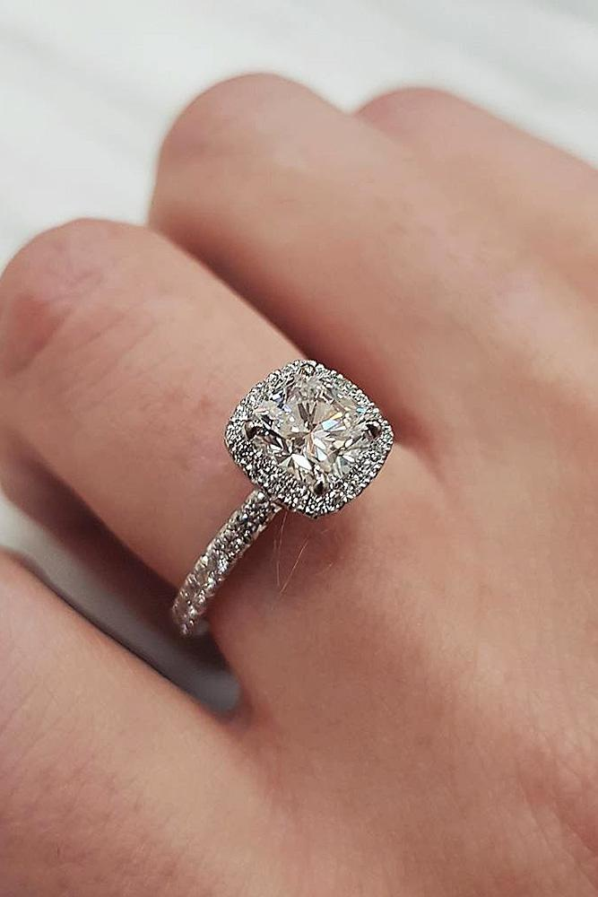 best engagement rings white gold cushion cut halo pave band diamond