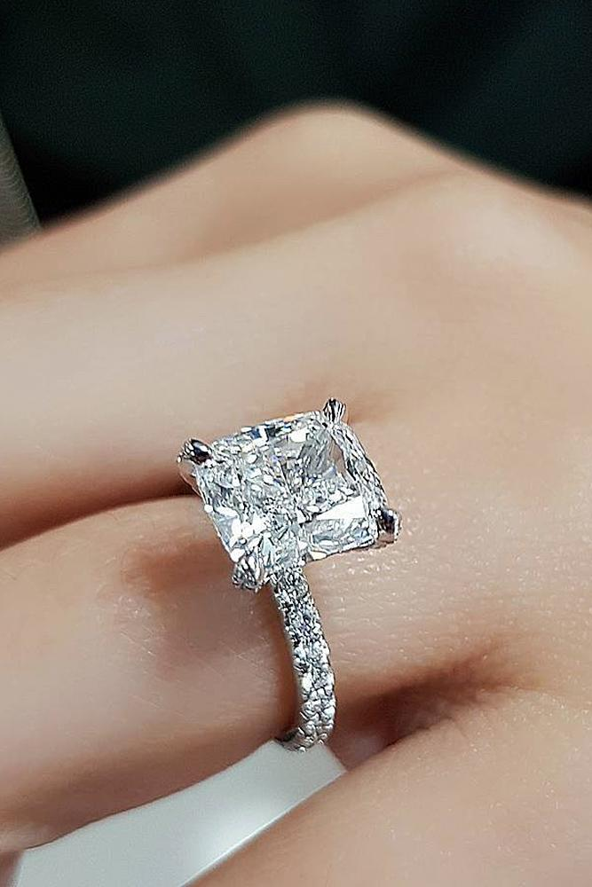 best engagement rings white gold princess cut pave band diamond