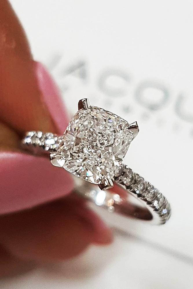 best engagement rings white gold princess cut solitaire pave band diamond
