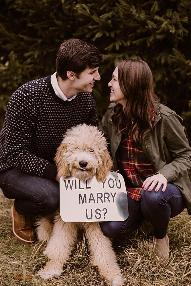 best proposal ideas happy couple with dog