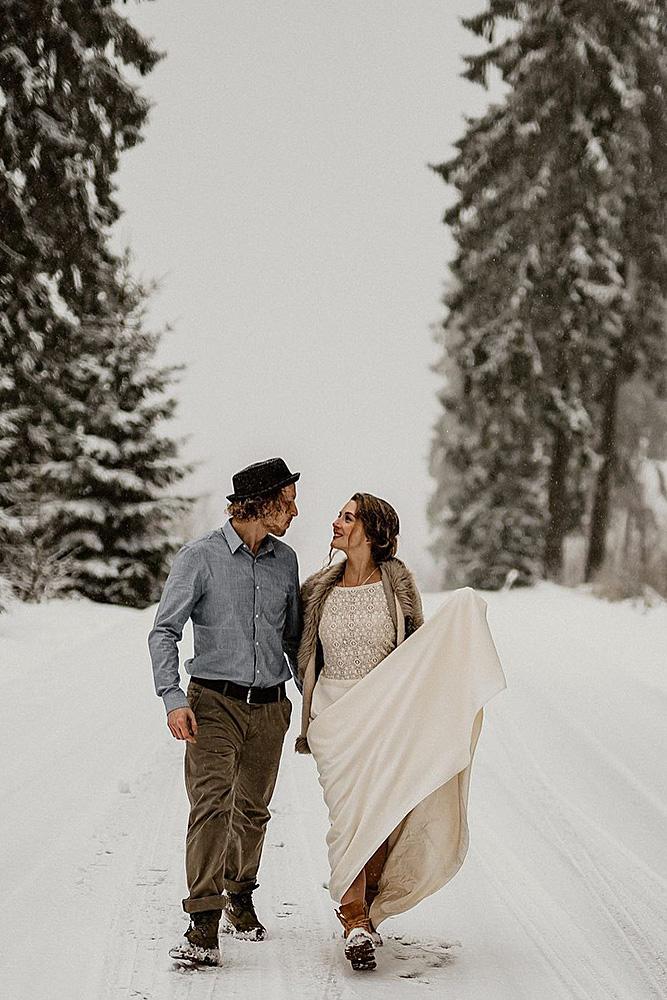 engagement photos couple happy winter photo