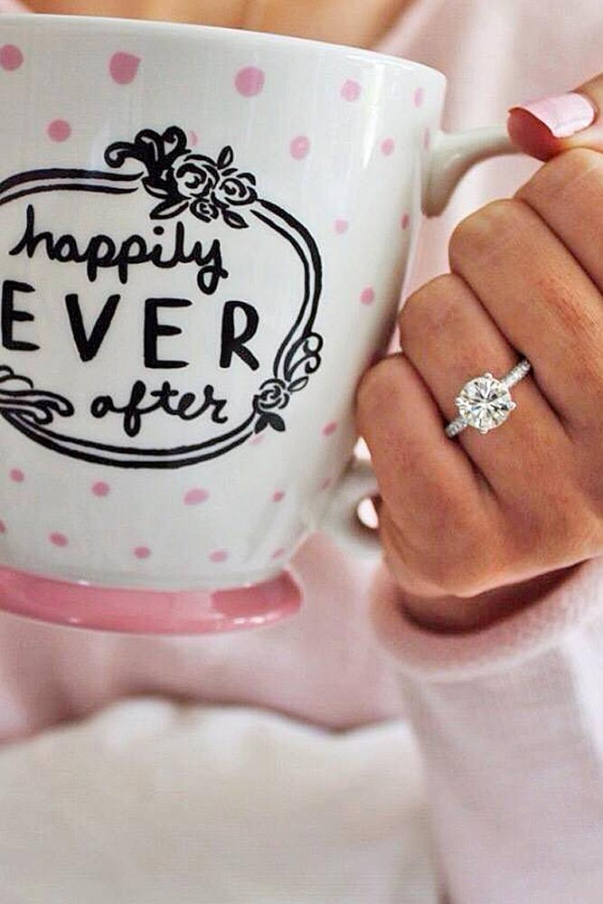 engagement pictures cup with lettering and diamond ring for engagement photo