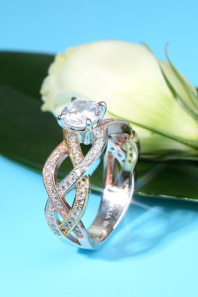 engagement rings styles gold diamond twist round cut unique pave band