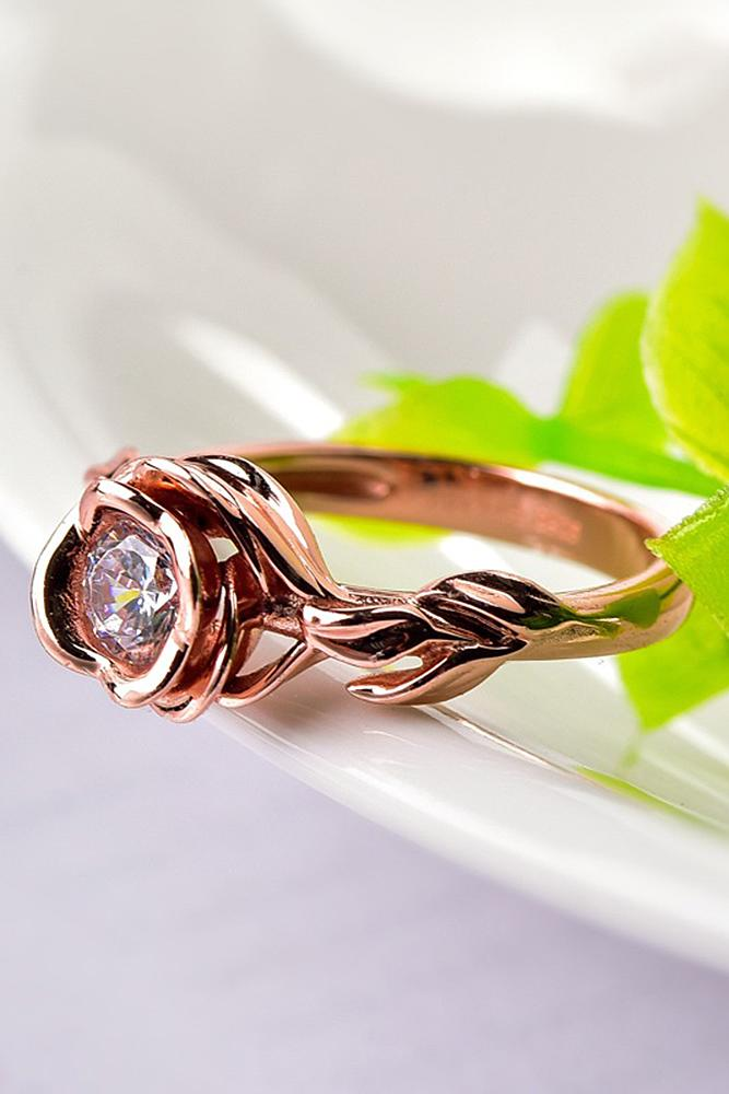 engagement rings styles rose gold diamond round cut unique
