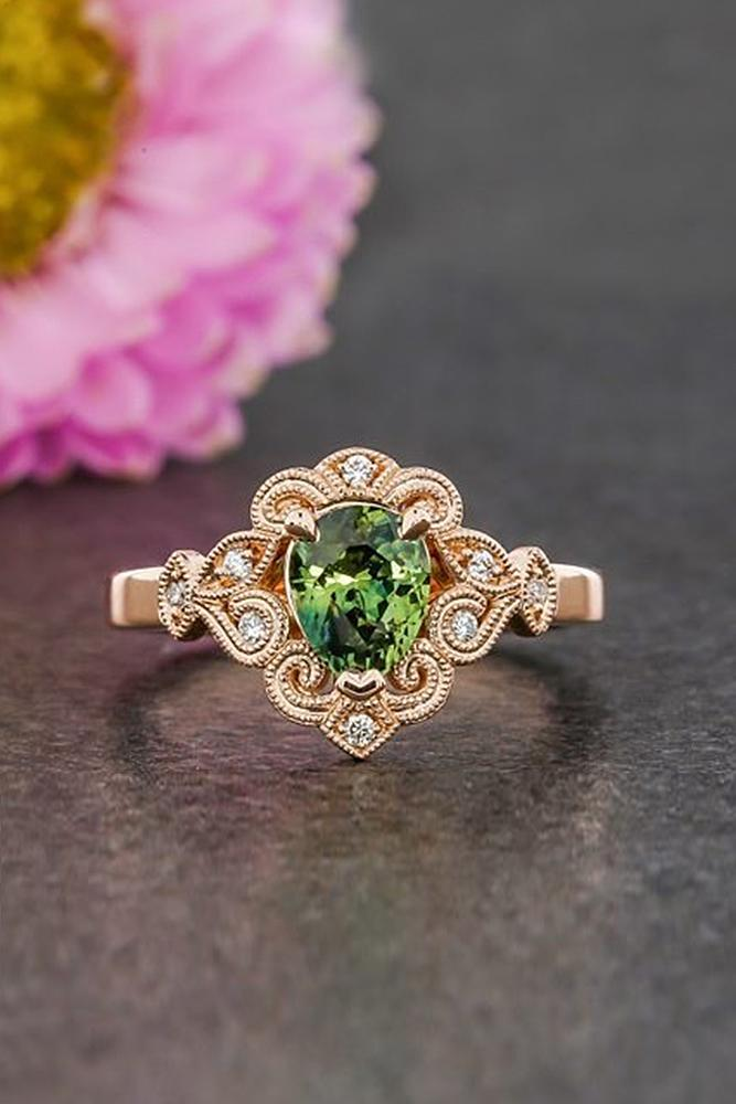 engagement rings styles rose gold gemstone pear vintage unique pave band