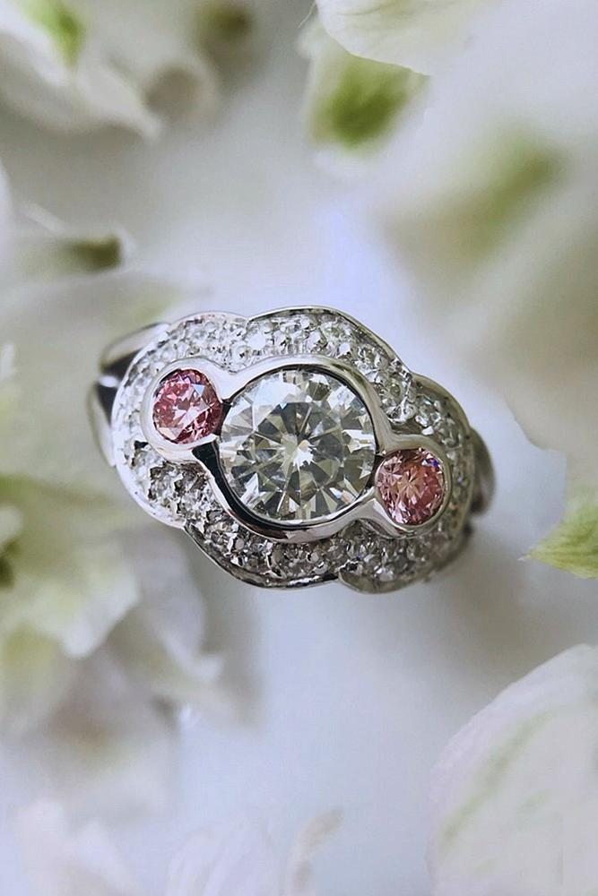 engagement rings styles round cut three stones white gold unique