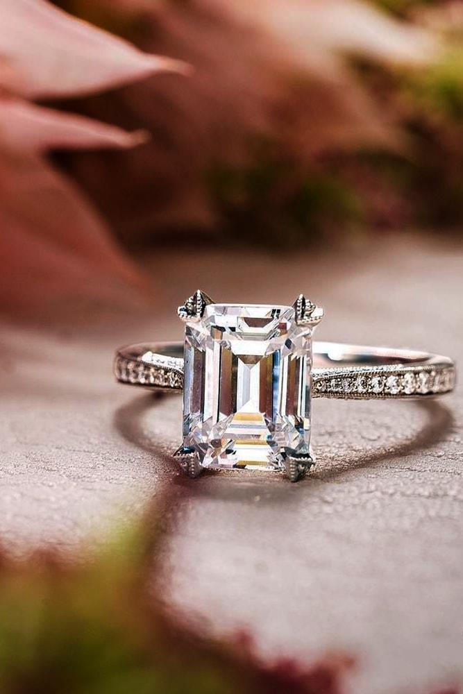 engagement rings styles sparkling solitaire white gold emerald cut diamond solitaire pave band classic brilliant