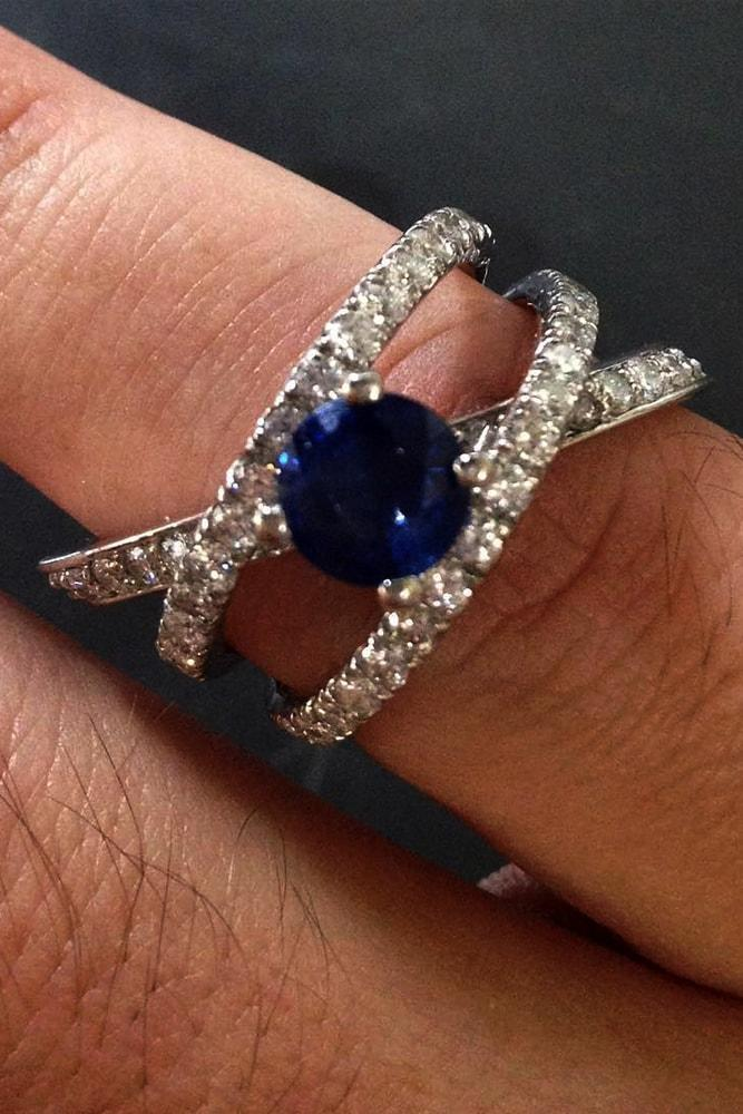 engagement rings styles split shank white gold round cut blue sapphire pave band wonderful