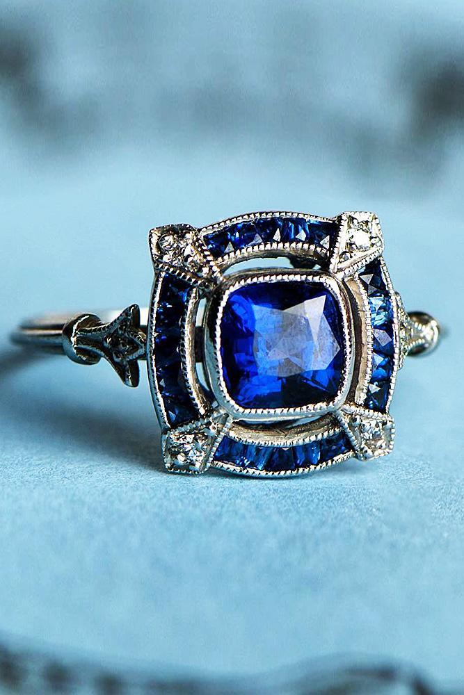 modern engagement rings cushion cut gemstone white gold
