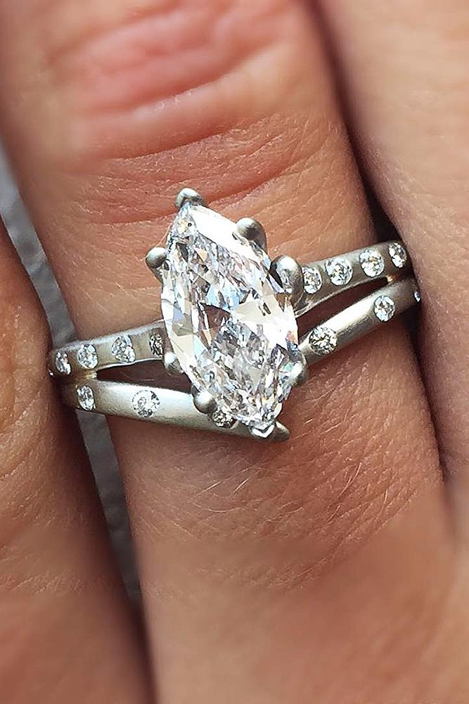 modern engagement rings diamond solitaire pave band white gold
