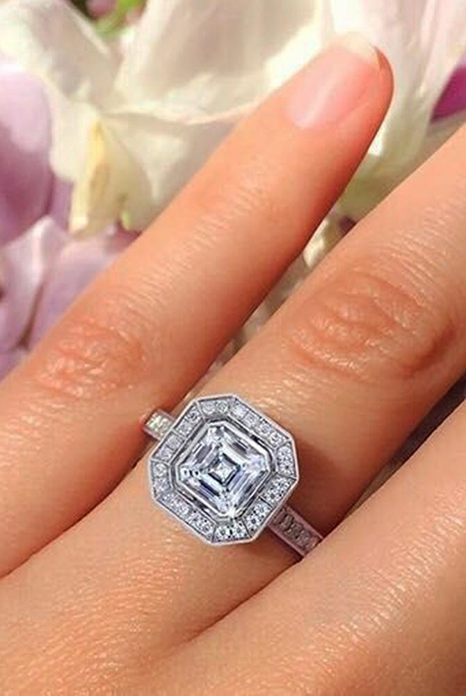 modern engagement rings halo white gold pave band