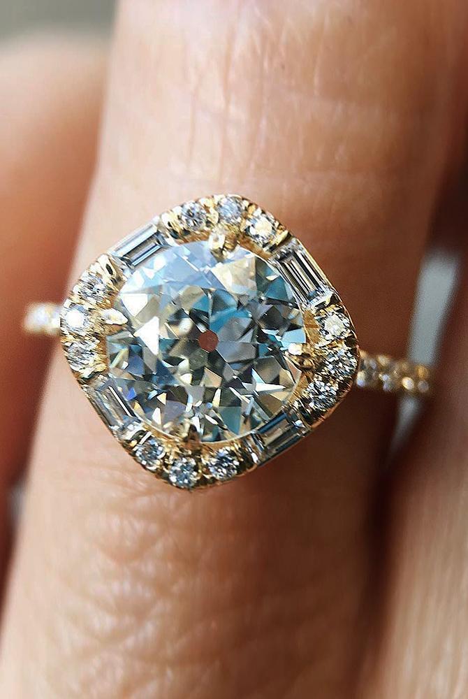 modern engagement rings halo yellow gold diamond