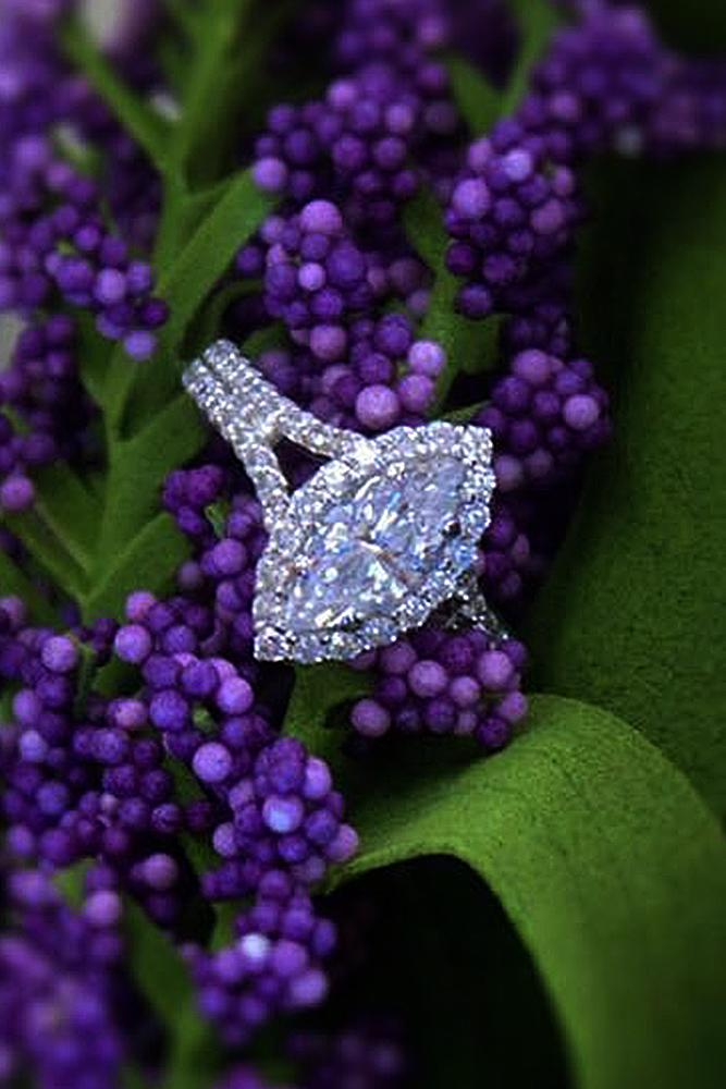 modern engagement rings marquise cut diamond split pave band