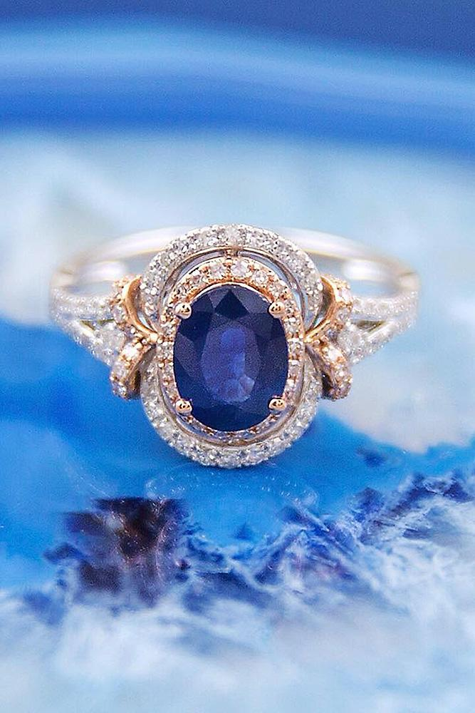modern engagement rings oval unique double halo gemstone gold