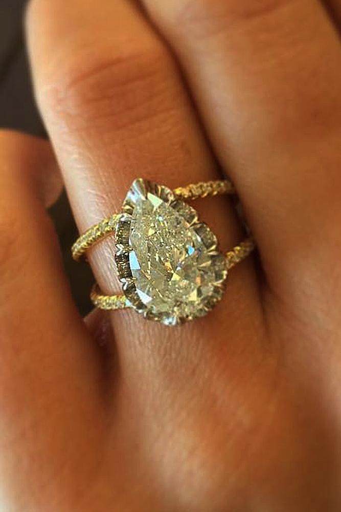 modern engagement rings pave band rose gold halo pear cut