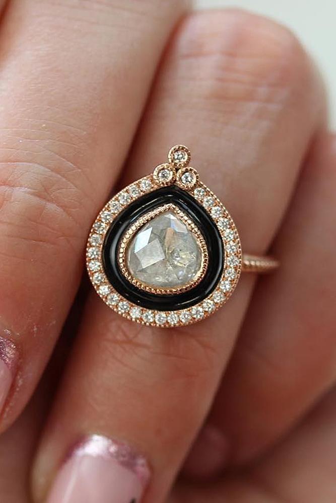 modern engagement rings pear cut diamond double unique halo