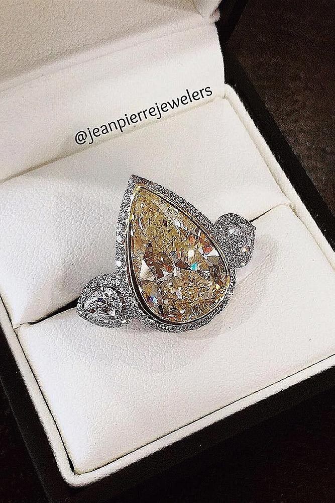 modern engagement rings pear halo diamond gold