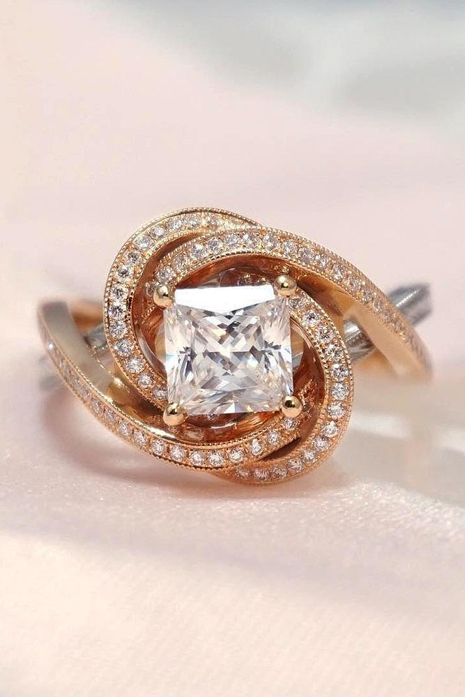 modern engagement rings princess cut diamond rose gold